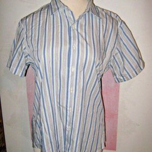 White Gray Blue Stripe Button Short Sleeve Shirt L